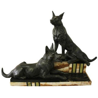 French Art Deco Patinated Metal Sculpture of Dogs