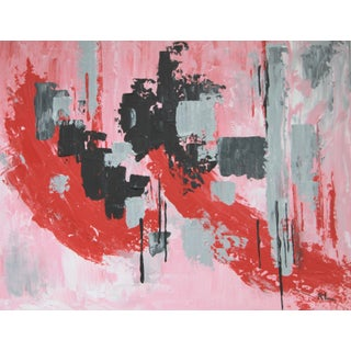 Abstract Red, Pink & Black Painting by C. Plowden
