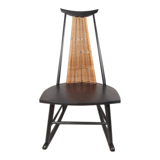 Mid-Century Modern Danish Rocking Chair with a Woven Back Rest