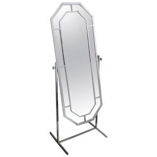 1970's Milo Baughman Chrome Standing Dressing Mirror