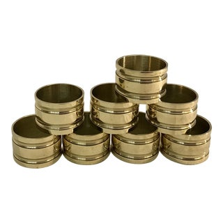 Mid-Century Brass Napkin Rings - Set of 8