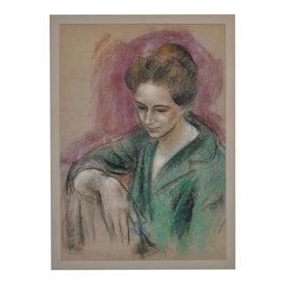 """Dan Dickey """"Woman in Green"""" Vintage Pastel Portrait c.1940s"""