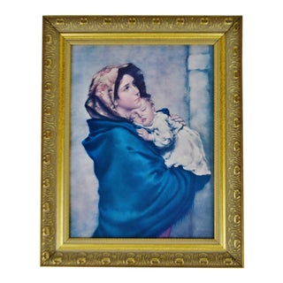 Vintage Framed Mother and Child Print on Board