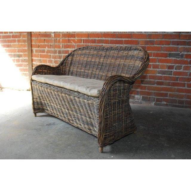 Organic Modern Woven Rattan and Wicker Settee - Image 4 of 9