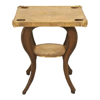 French Brass Top Game Table