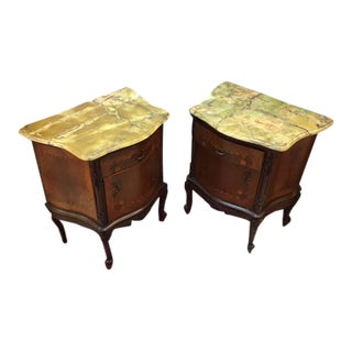 Italian Marble Lamp Chest - A Pair