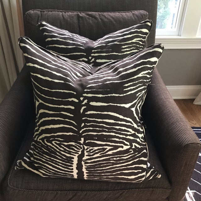 Brunschwig & Fils Le Zebra Pillows- Pair - Image 2 of 7