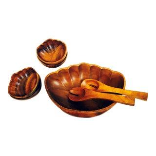 Mid-Century Teak Clam Shell Salad Bowl Set