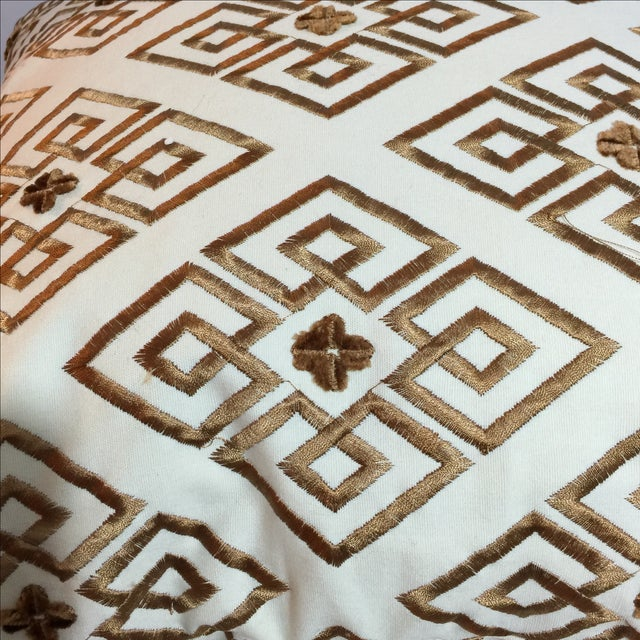 Custom Embroidered Brown Pillows - A Pair - Image 5 of 5
