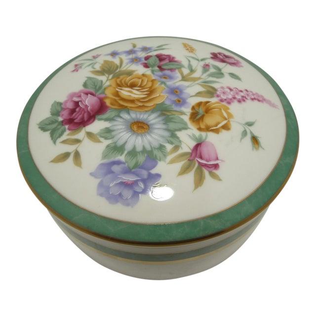 Mikasa Floral Porcelain Round Vanity Box Aqua - Image 1 of 6