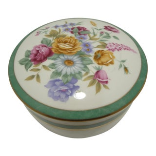 Mikasa Floral Porcelain Round Vanity Box Aqua