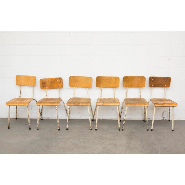 Industrial Plywood Stacking School Chairs - Image 11 of 11