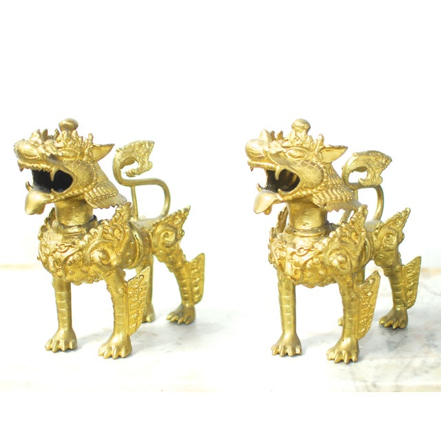 Brass Foo Dogs With Gilt Finish - A Pair - Image 2 of 6