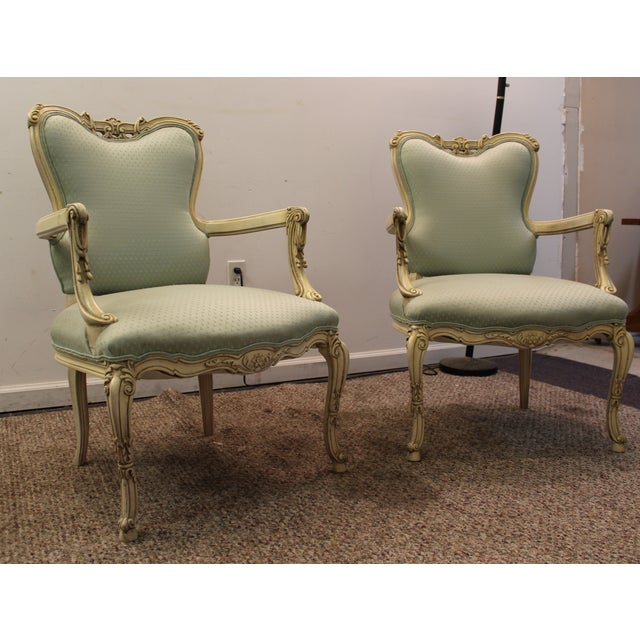 French Louis XV Ladies Open Arm Chairs - A Pair - Image 2 of 11