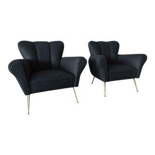 Pair of Italian Armchairs in Petroleum Blue Calfskin Leather