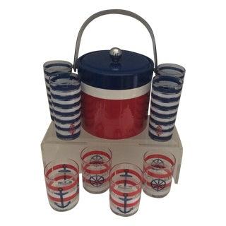 Mid-Century Nautical Ice Bucket & Glasses - S/9