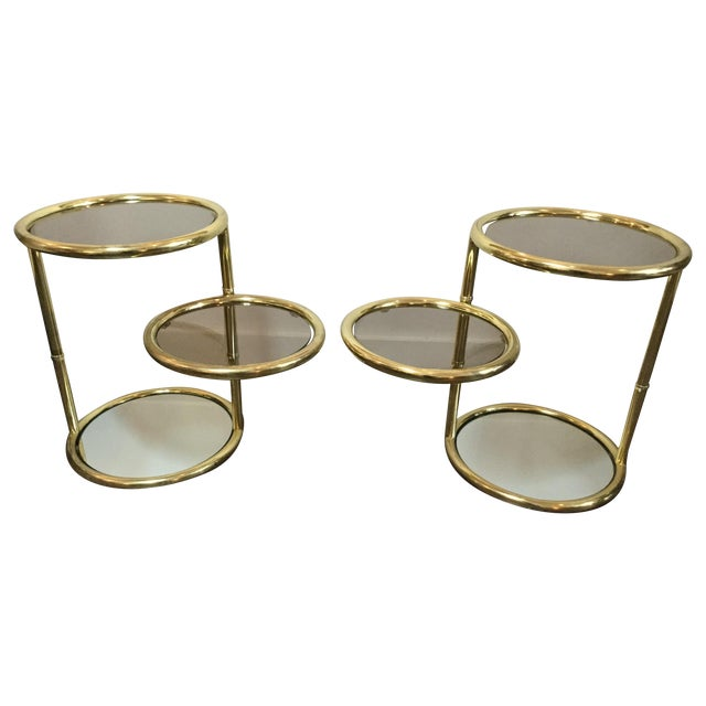 1970's Swivel Brass Side Tables - Image 1 of 11
