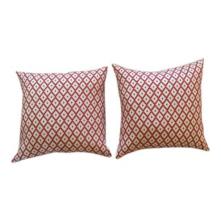 "Manuel Canovas Red & Cream Diamond ""Ales"" Woven Pillows - a Pair"