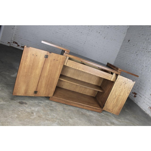 Drexel Heritage Mid-Century Campaign Style Rolling Dry Bar - Image 11 of 11