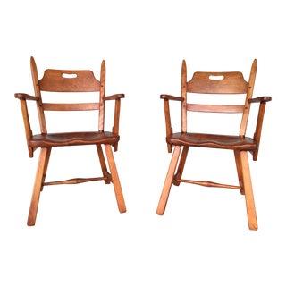 Cushman Colonial Creations Crown Back Arm Chairs - A Pair