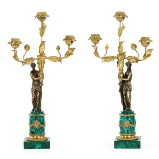 Empire Style Bronze & Malachite Candelabras - A Pair
