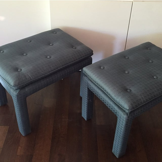 Blue Parsons Ottomans - A Pair - Image 3 of 4