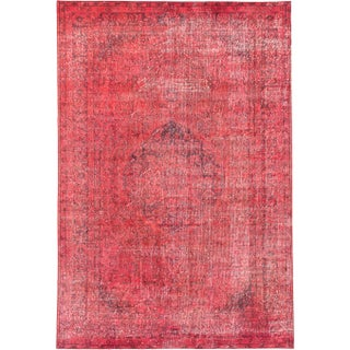 "Coral Red Turkish Overdyed Rug - 6'3"" X 9'2"""