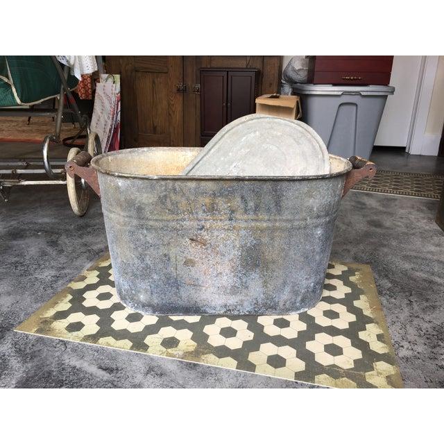 Vintage Galvanized Oval Wash Tub With Lid Chairish