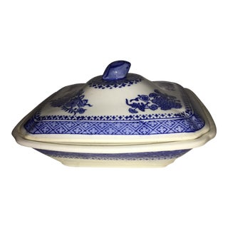 Asian Blue & White Porcelain Covered Dish