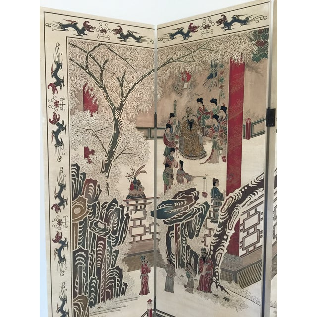 Hand-Painted Chinese Wood Screen - Image 9 of 11