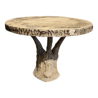 Faux Bois Concrete Round Pedestal Table