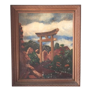 Charles L. Joyce Torii Gate Oil on Canvas Painting, Circa 1946