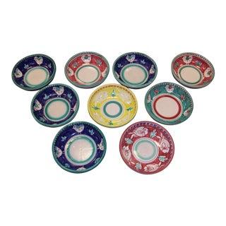 Italian Ceramic Hand Painted Bowls - Set of 9