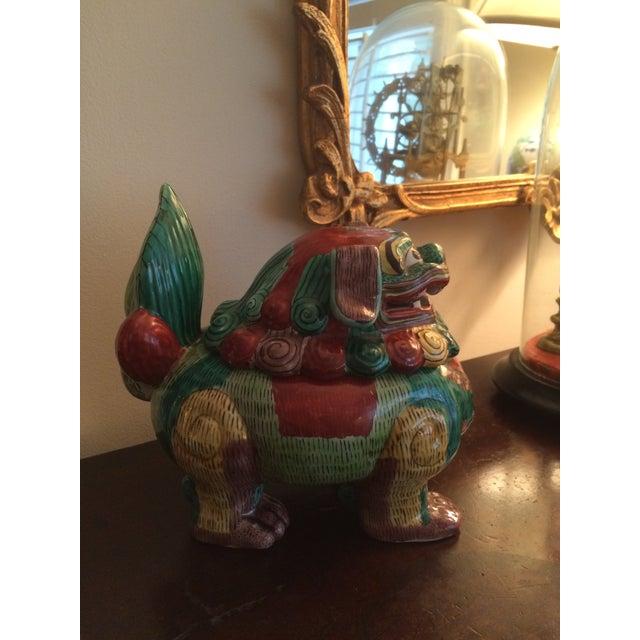 Image of Vintage Ceramic Foo Dog Jar
