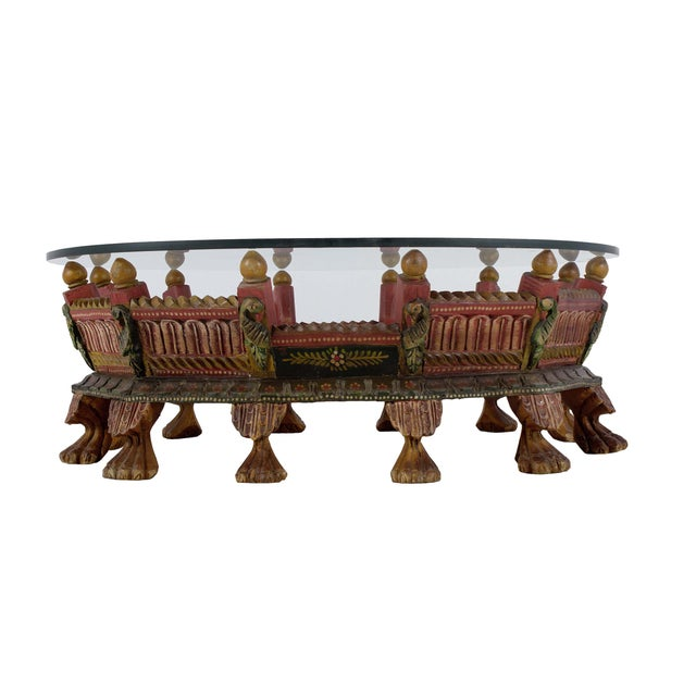 Wooden Carved Painted Low Profile Coffee Table With Glass Top - Image 2 of 2