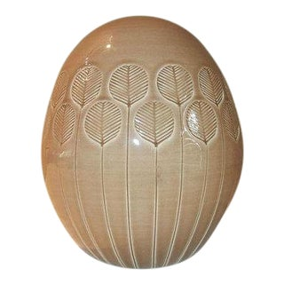 Mid-Century Italian Glazed Pottery Egg with Leaf Accents
