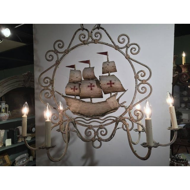 Mid-20th Century French Painted Iron 6-Light Sailboat Chandelier - Image 4 of 9