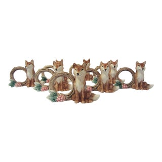 Fitz & Floyd Fox Napkin Rings - Set of 8