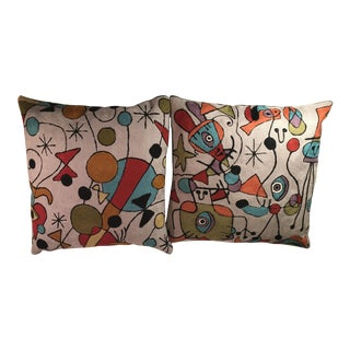 Modern Wool Picasso Inspired Pillows - A Pair