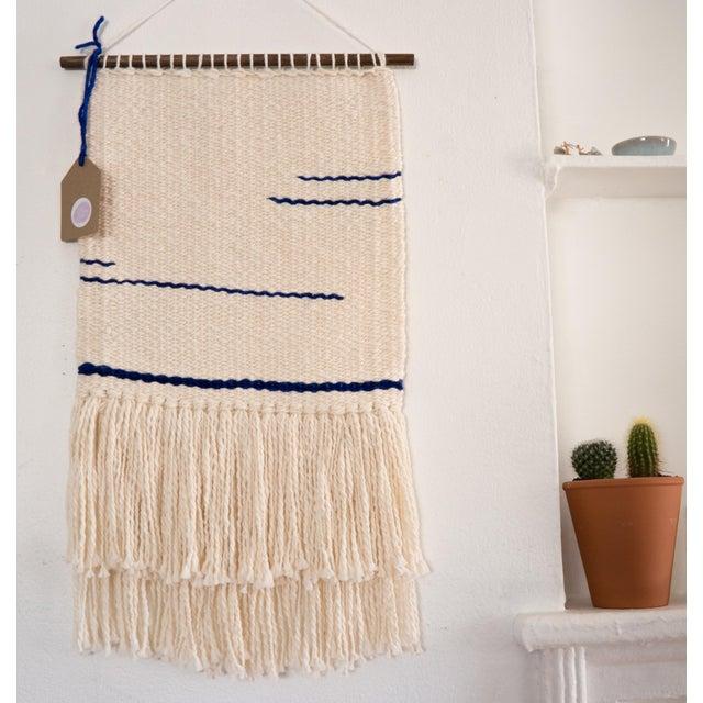 Cream & Indigo Woven Wall Hanging - Image 2 of 3