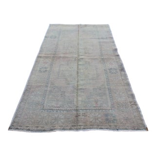 Mid 20th C. Vintage Antique Tribal Oushak Neutral Soft Hand Knotted Turkish Rug - 4'9 X 8'7