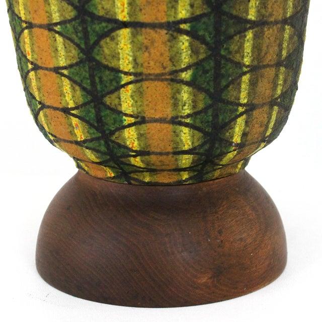 Mid-Century Modern Bitossi Pottery Teak Lamp - Image 5 of 7