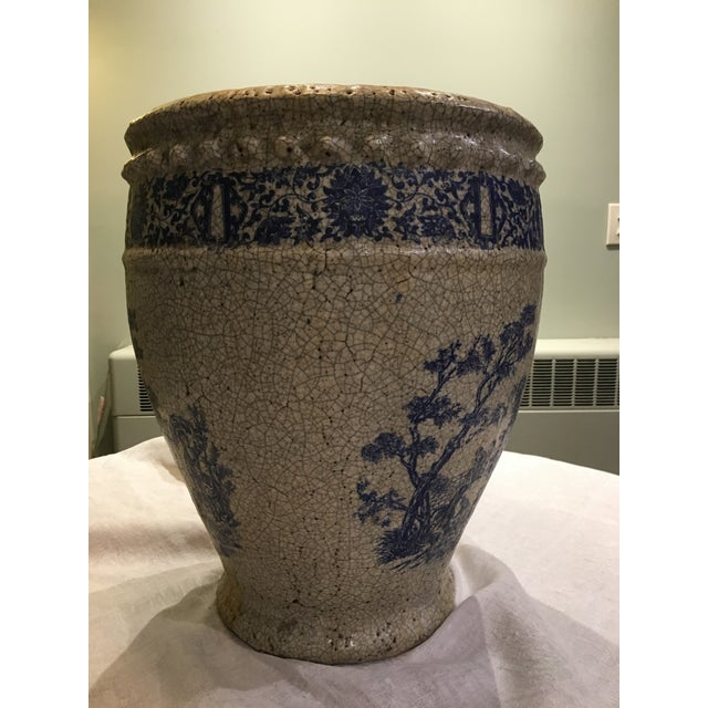 Planter With Blue Pastoral Scene - Image 3 of 10