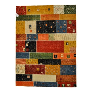 "Patchwork-Like Tribal Motif Colorful Area Rug - 5'9"" X 7'9"""