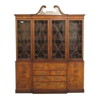 Baker English Mahogany Breakfront China Cabinet