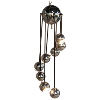 Vintage Chrome Eyeball Light Cascading Chandelier