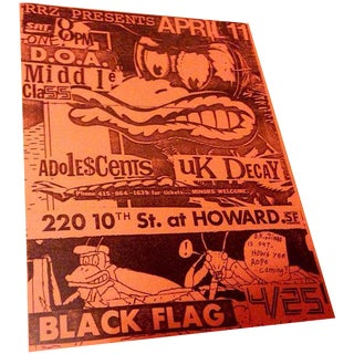 Vintage Original Black Flag Punk Flyer