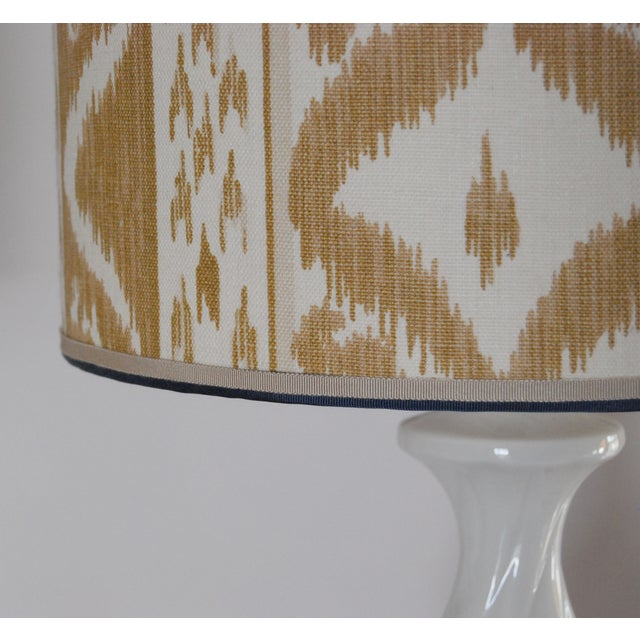 Image of Column Lamps with Ikat Shades- A Pair
