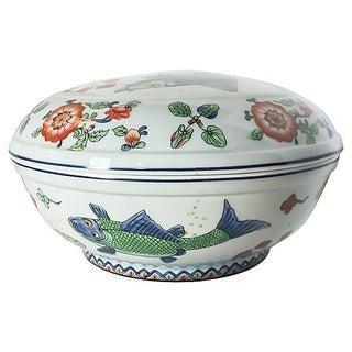 Vintage Fish Motif Lidded Serving Bowl