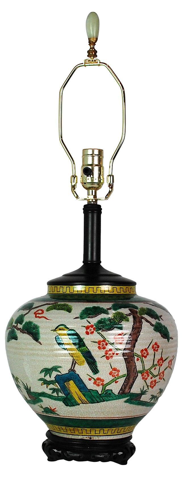 Japanese Polychrome Lamp Amp Jade Finial Chairish
